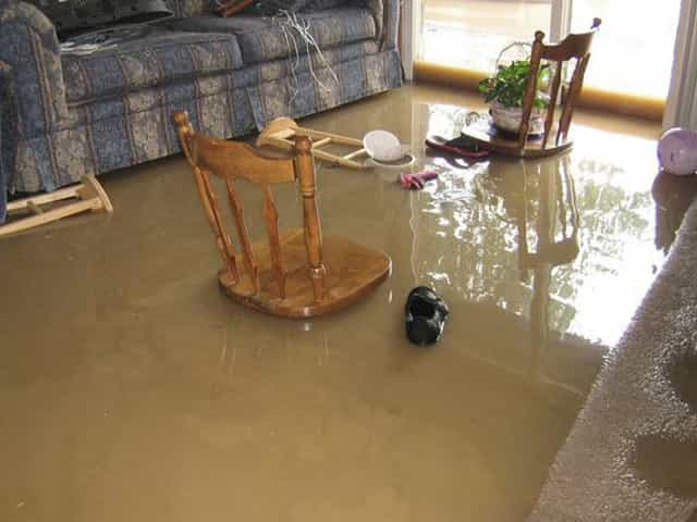flood damage in living room